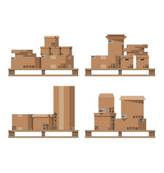 pile cardboard boxes on wooden pallets vector image