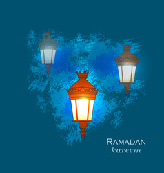 Ramadan greetings card view of mosque in night vector