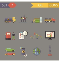Retro flat oil icons and symbols set vector