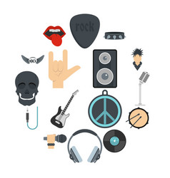 rock music icons set in flat style vector image