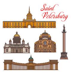 Saint petersburg landmarks and buildings vector