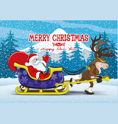 santa claus and reindeer vector image