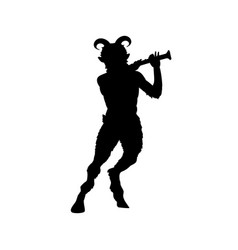 Satyr faun flute game silhouette ancient mythology vector