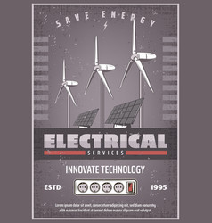 save energy retro banner of eco power technology vector image