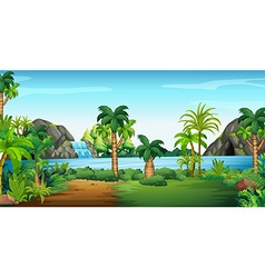 Scene with waterfall and cave vector