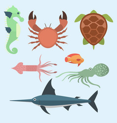 Sea animals creatures characters cartoon vector