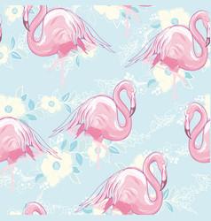 seamless flamingo pattern vector image