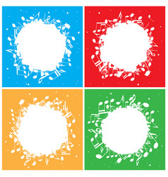 set of color backgrounds with white music notes vector image