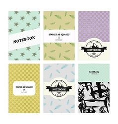Set of notebook covers with patterns with leaves vector image