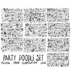 Set of party hand drawn doodle sketch line vector