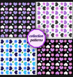 set of seamless pattern with hearts and suns vector image