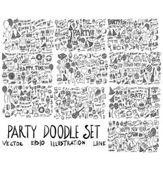 set party hand drawn doodle sketch line vector image