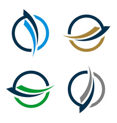 set swoosh and circle for finance logo template vector image