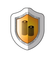 Sticker shield with silhouette stacked coins with vector