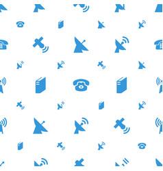 telecommunication icons pattern seamless white vector image