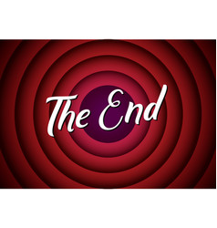 the end movie font comic poster circle cartoon vector image