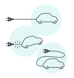 thin line electric car icon with cord and plug vector image