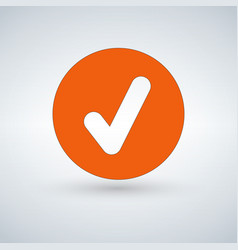 tick sign element orangr checkmark icon isolated vector image