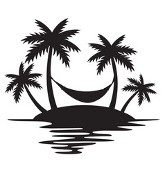 tropical island palm trees and hammock vector image