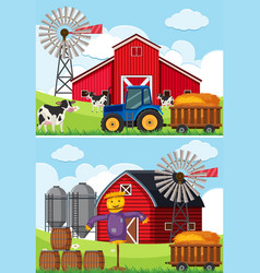 Two scenes with tractor and scarecrow in the farms vector