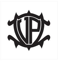 Vp logo monogram isolated with frame shield shape vector