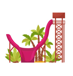 Water park with colored waterslide for kids vector