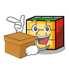With box rubik cube character cartoon vector