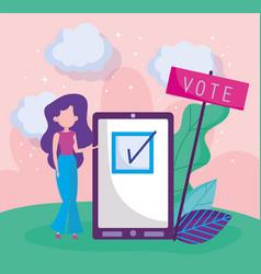 Woman and smartphone politics election democracy vector