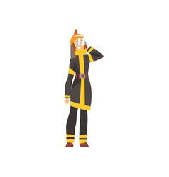 woman fireman in uniform and protective helmet vector image