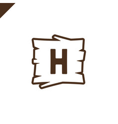 wooden alphabet or font blocks with letter h in vector image