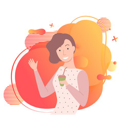 young girl with cup coffee posing image vector image