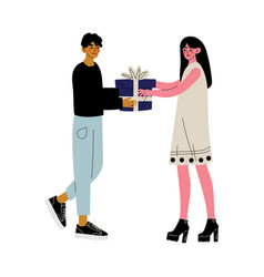 Young man giving gift box to beautiful girl vector