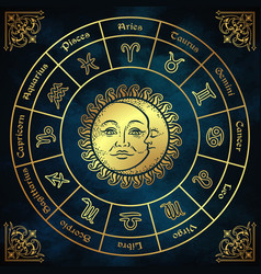 Zodiac circle with horoscope signs sun and moon vector