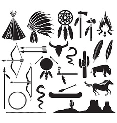Native american icon set vector image vector image