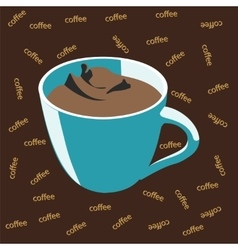 Blue cup of coffee vector