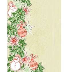 Christmas background with paper decorations vector image
