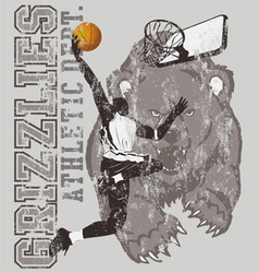 grizzly basketball vector image