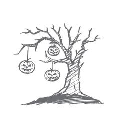 Hand drawn Halloween pumpkin faces hanging on tree vector image vector image