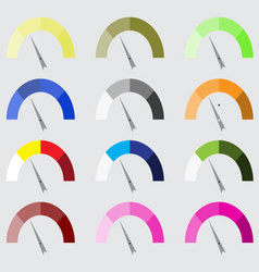 Indicator color set with pointer needle vector image