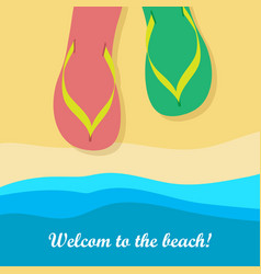 welcome to beach pair of colorful flip flops vector image vector image