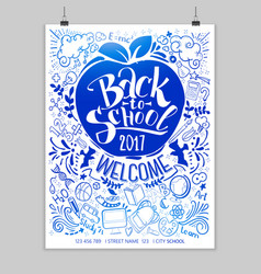 blue back to school poster with frame vector image vector image
