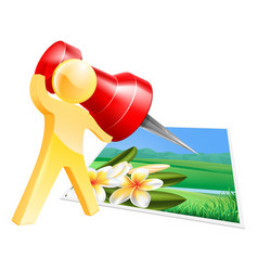 pinning photo man concept vector image vector image