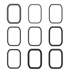set of rectangular black monochrome rope vector image vector image