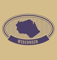 Wisconsin map silhouette - oval stamp vector image