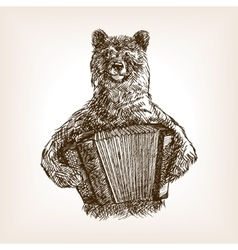 Bear with accordion sketch vector