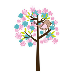 color silhouette with floral tree and bird vector image