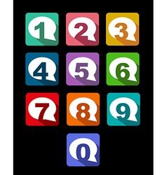 flat icons bubble conversation numbers with long vector image vector image