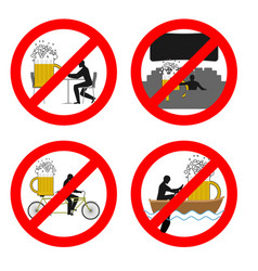 forbidden to drink alcohol in public places stop vector image vector image