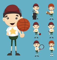 Set of boy and sport vector image vector image