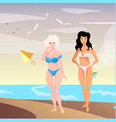 two young woman on beach vector image vector image